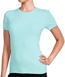 Ladies Crewneck Long Sleeve Ribbed T-Shirt Seafoam 100% Cotton