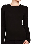 Ladies Crewneck Long Sleeve Ribbed T-Shirt Black 100% Cotton