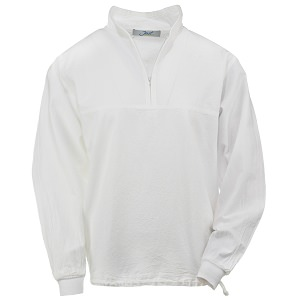 Ladies Honey-Komb Half Zip Sweatshirt Long Sleeves 100% Cotton White
