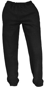 French Terry Unisex Sweatpants Black 100% Cotton