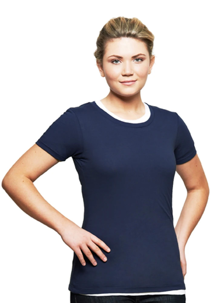 T-Shirt Ladies Short Sleeve 100% Cotton Navy