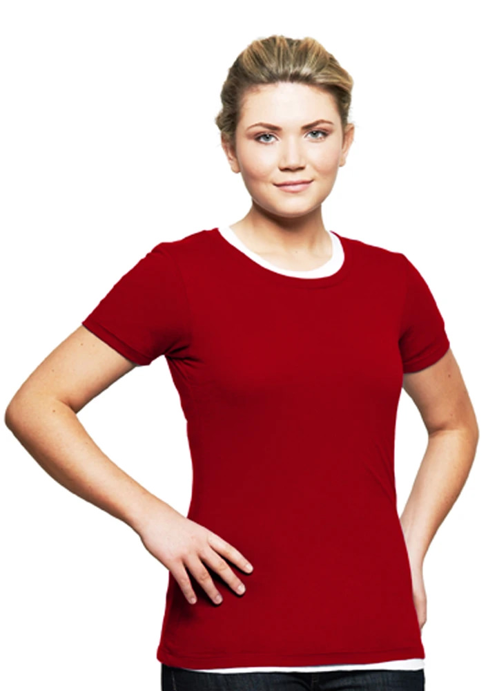 T-Shirt Ladies Short Sleeve 100% Cotton Red