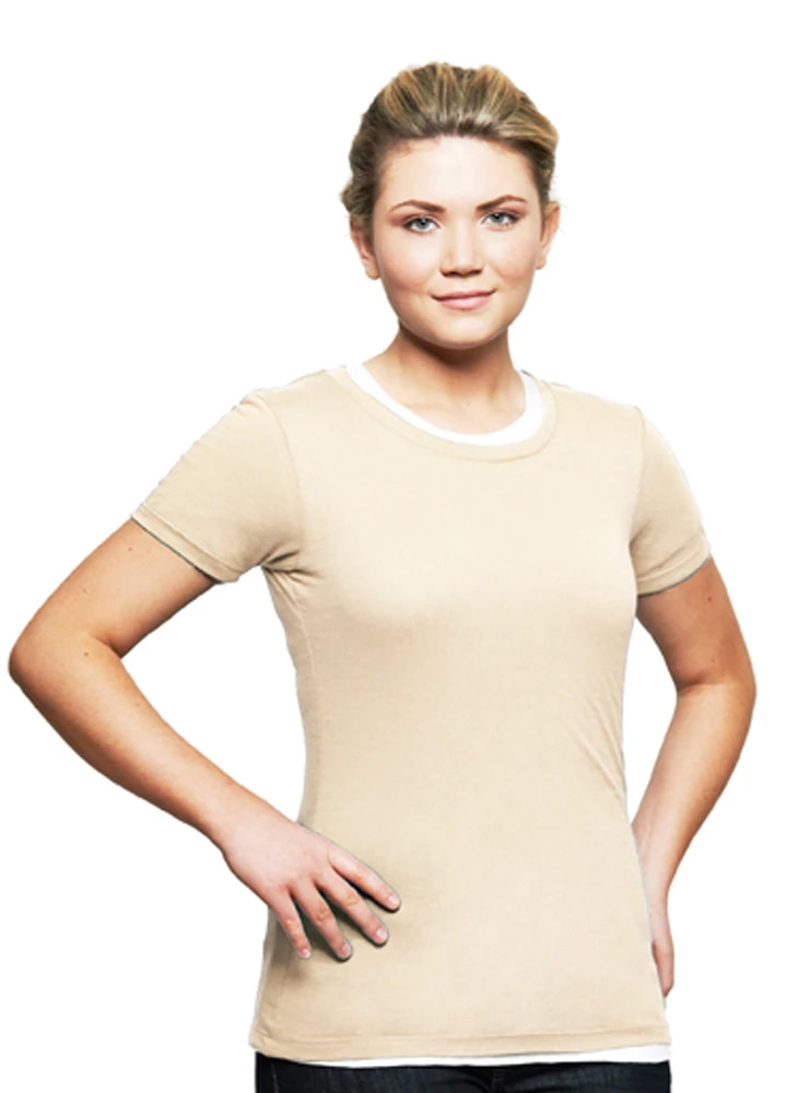 T-Shirt Ladies Short Sleeve 100% Cotton Natural
