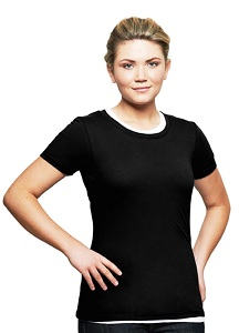 T-Shirt Ladies Short Sleeve 100% Cotton Black
