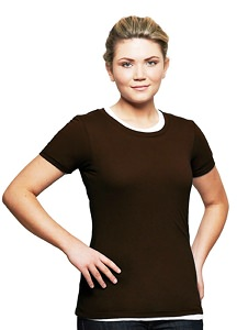 T-Shirt Ladies Short Sleeve 100% Cotton Dark Chocolate