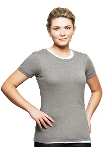 T-Shirt Ladies Short Sleeve 100% Cotton Grey Mix