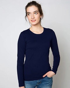 T-Shirt Ladies Long Sleeve 100% Cotton Navy