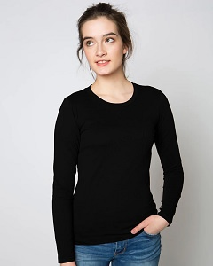 T-Shirt Ladies Long Sleeve 100% Cotton Black