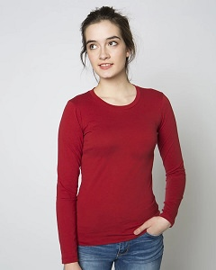 T-Shirt Ladies Long Sleeve 100% Cotton Ruby Red