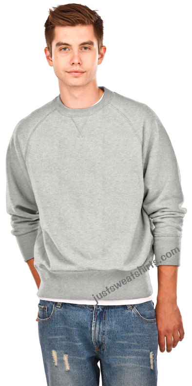 Crewneck Men's Fine French Terry Gray Mix 100% Cotton