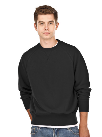 Crewneck Men's Fine French Terry Black 100% Cotton