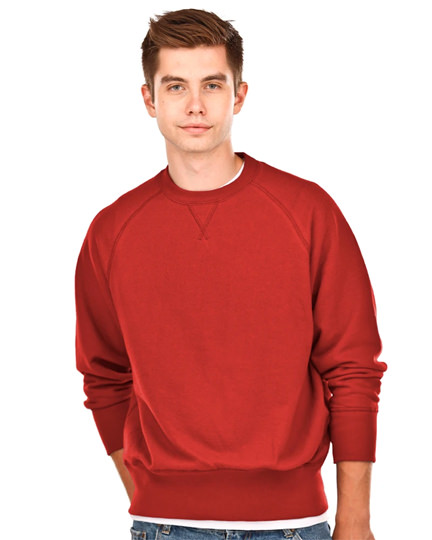 Crewneck Men's Fine French Terry Warm Red 100% Cotton