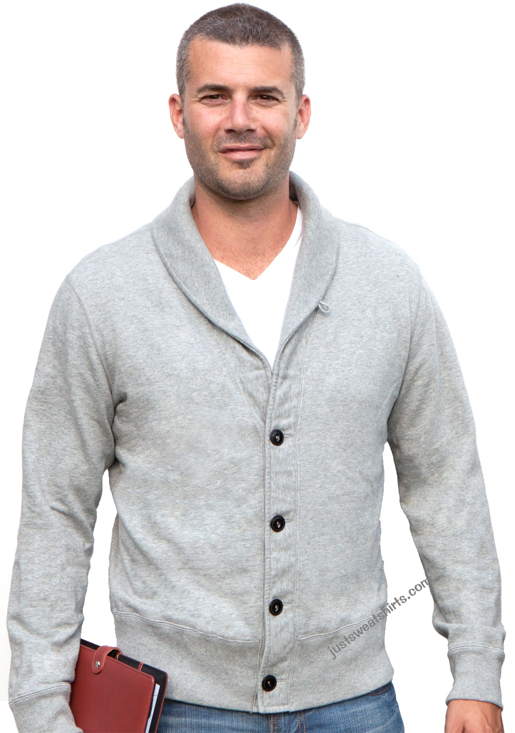 Men's Cardigan Sweatshirt Grey Mix 100% Cotton