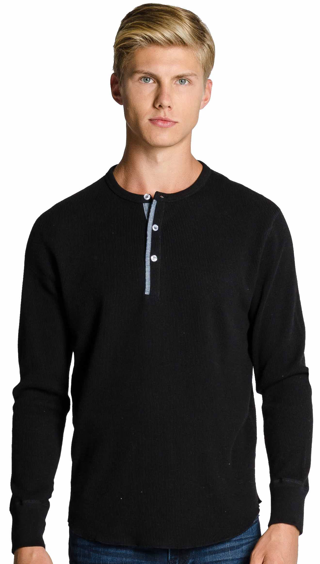Mens Waffle Henley Collar 100% Cotton Black
