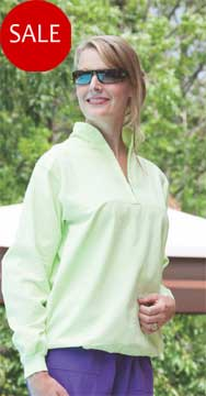 Ladies Honey-Komb 100% Cotton Half Zip Long Sleeve Tops