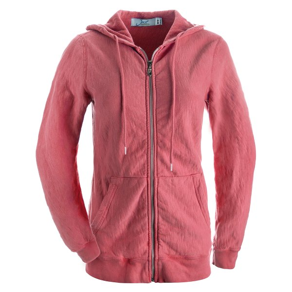 Ladies Hooded Zipper 14oz 100% Maché  Cotton Deep Coral