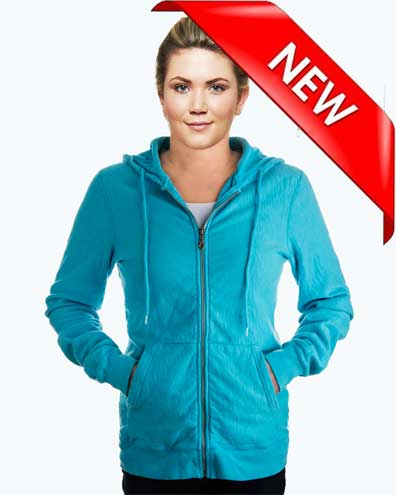 Ladies Hooded Zipper Maché Terry 100% Cotton
