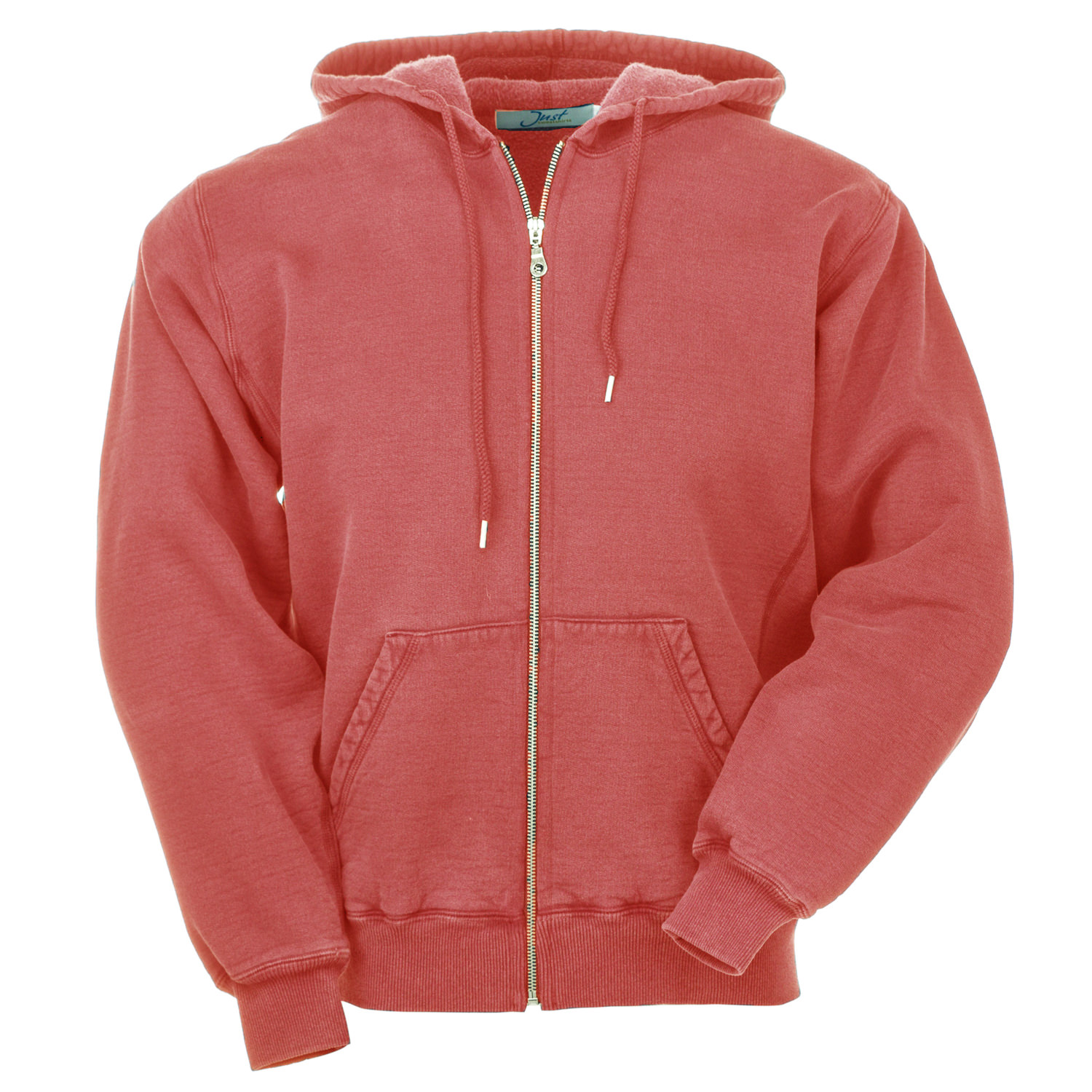 Hooded Full Front Zipper Red Sand 100% Cotton
