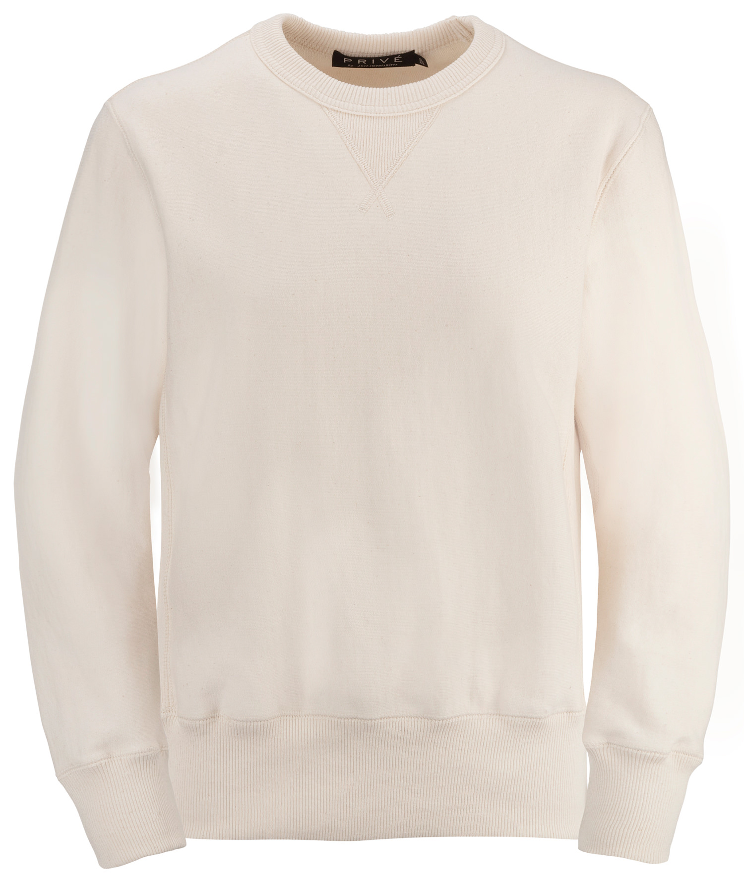 PRIVÉ Crewneck Natural with Side Rib 100% Cotton