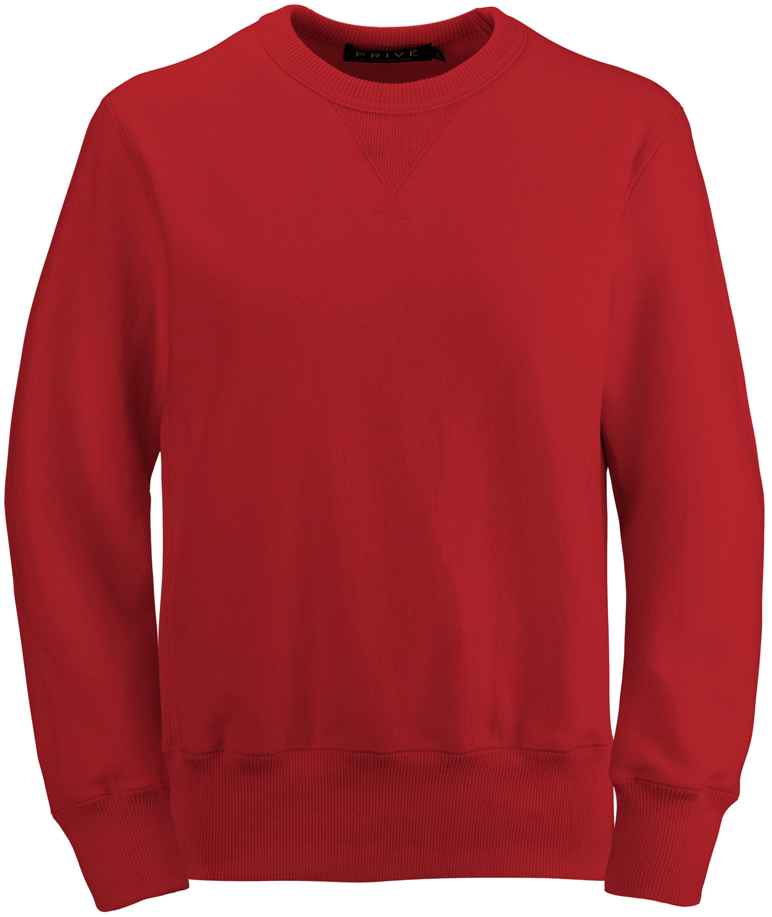 PRIVÉ Crewneck Ruby Red with Side Rib 100% Cotton