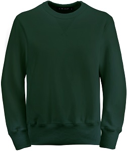 PRIVÉ Crewneck Park Green with Side Rib 100% Cotton