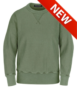 PRIVÉ Crewneck Olive Sand with Side Rib 100% Cotton