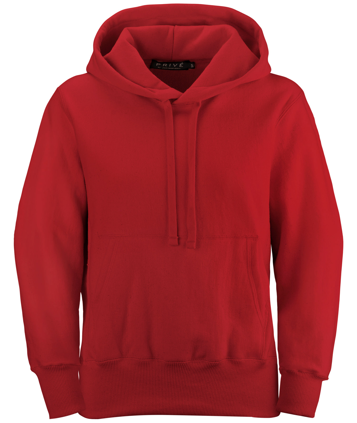 PRIVÉ Hoodie Red with Side Rib 100% Cotton