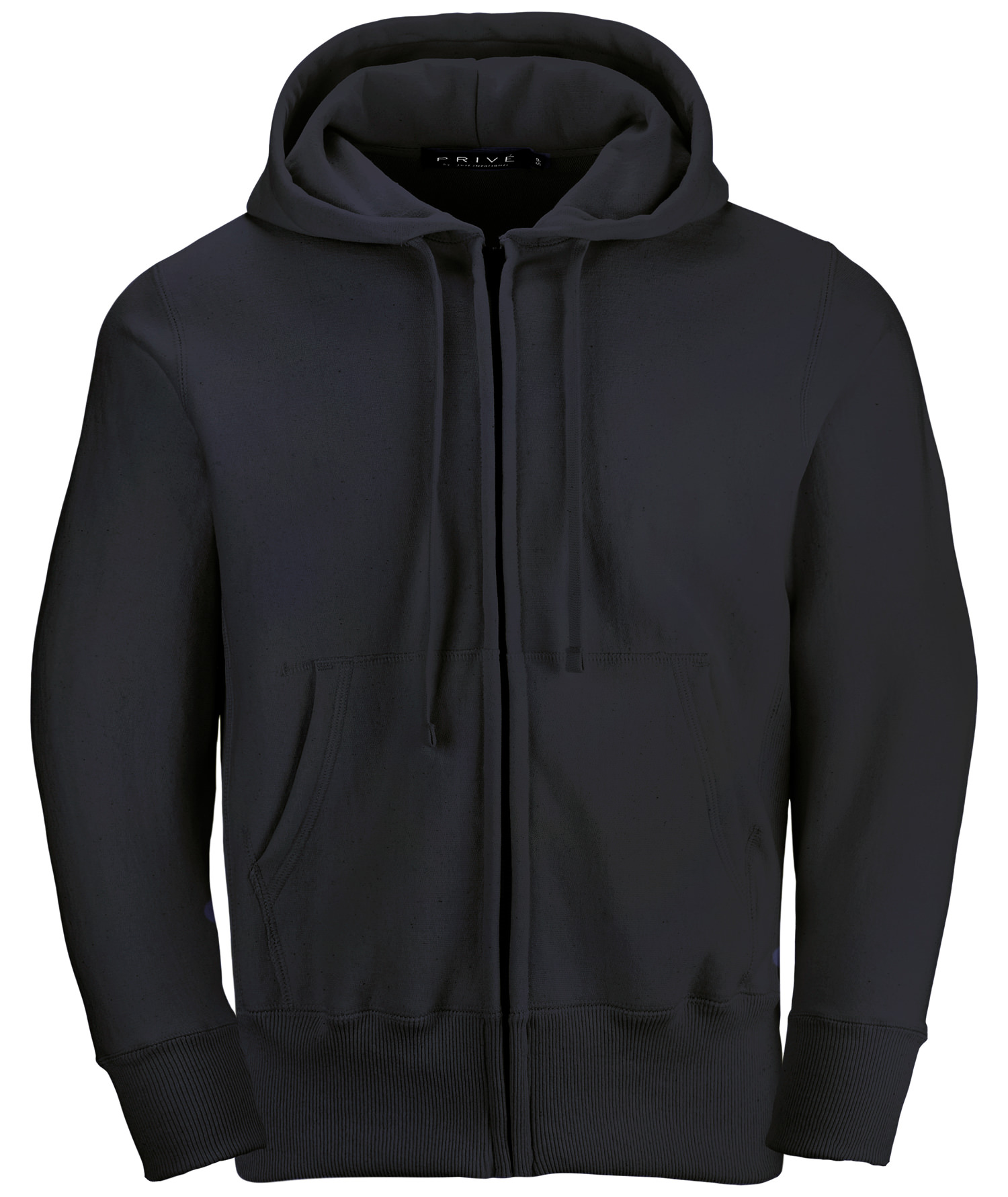 PRIVÉ Full Zip Hoodie Black with Side Rib 100% Cotton