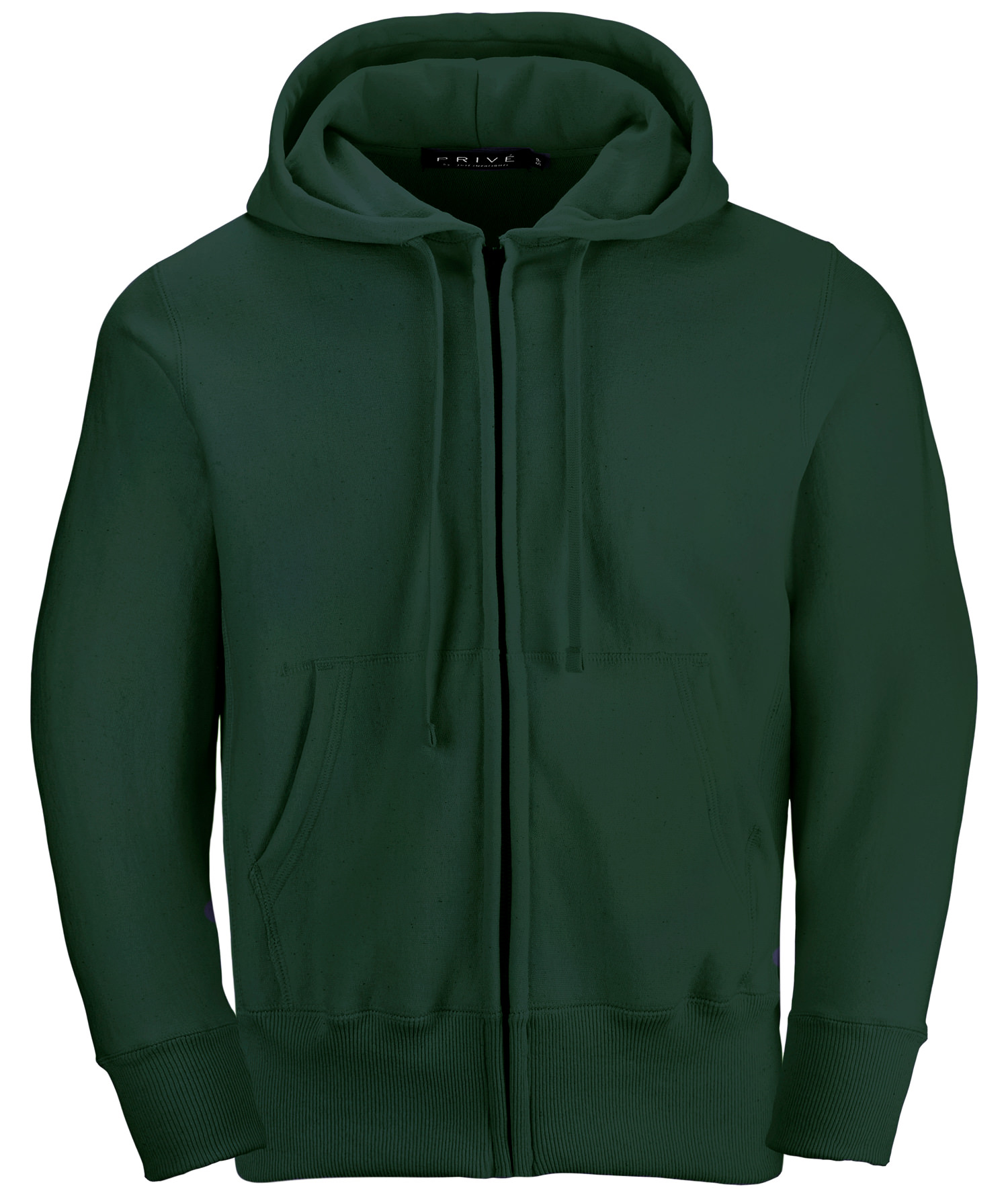 PRIVÉ Full Zip Hoodie Park Green with Side Rib 100% Cotton