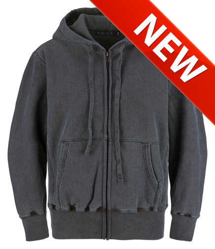 PRIVÉ Full Zip Hoodie Charcoal with Side Rib 100% Cotton
