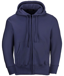 PRIVÉ Full Zip Hoodie Navy with Side Rib 100% Cotton