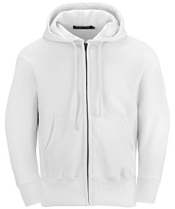 PRIVÉ Full Zip Hoodie White with Side Rib 100% Cotton