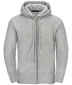 PRIVÉ Full Zip Hoodie Gray with Side Rib 95% Cotton
