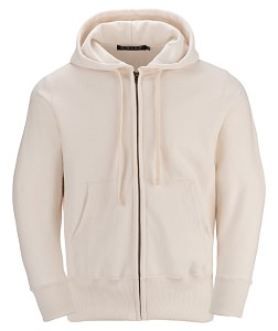 PRIVÉ Full Zip Hoodie Natural with Side Rib 100% Cotton