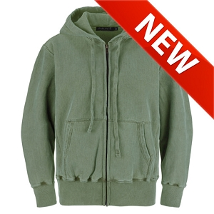 PRIVÉ Full Zip Hoodie Olive Sand with Side Rib 100% Cotton