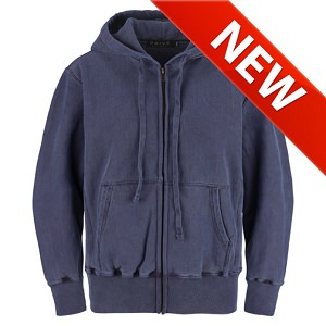 PRIVÉ Full Zip Hoodie Navy Sand with Side Rib 100% Cotton