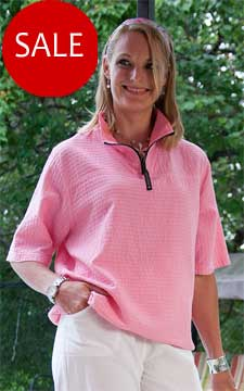 Ladies Mirage Cotton Half Zip Top 100% Cotton