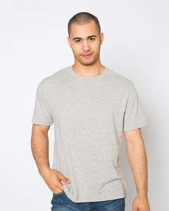 T-Shirt Men's Short Sleeve 100% Cotton Grey Mix
