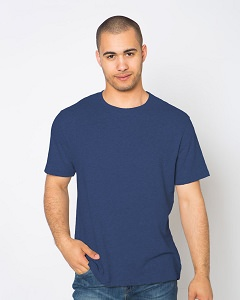 T-Shirt Men's Short Sleeve 100% Cotton Blue Jeans