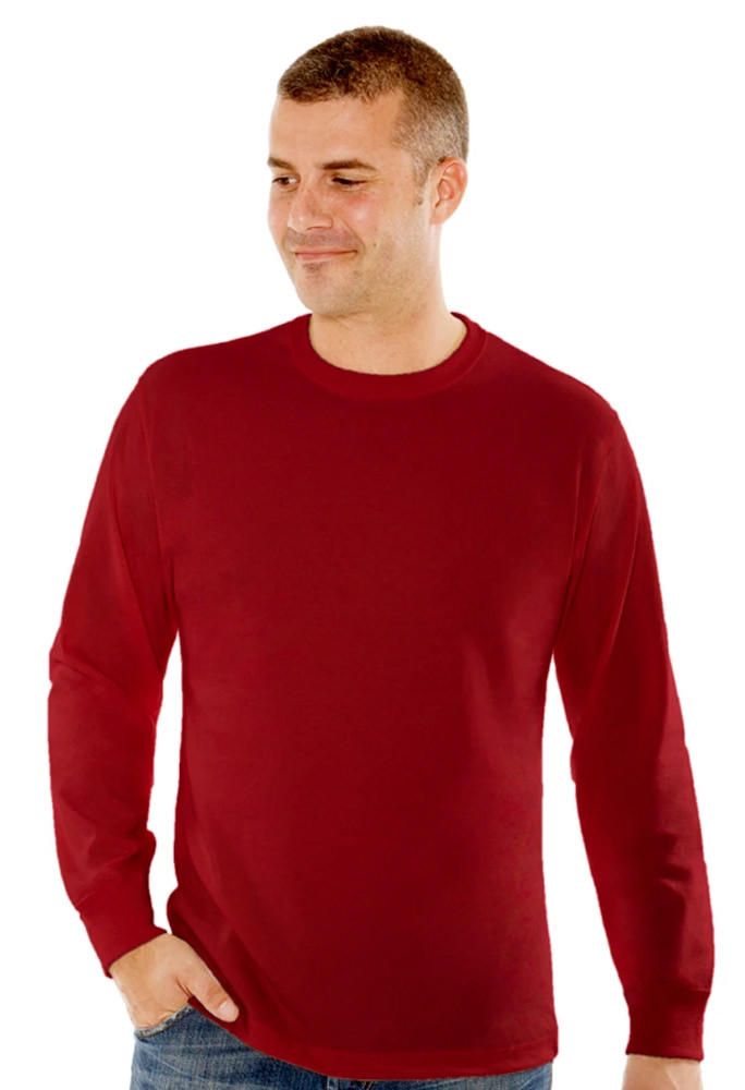 T-Shirt Men's Long Sleeve 100% Cotton Ruby Red