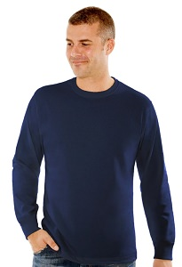 T-Shirt Men's Long Sleeve 100% Cotton Dark Navy