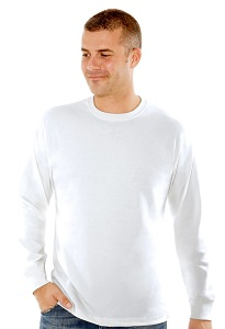 T-Shirt Men's Long Sleeve 100% Cotton White