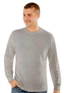 T-Shirt Men's Long Sleeve 100% Cotton Grey Mix