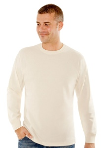 T-Shirt Men's Long Sleeve 100% Cotton Natural