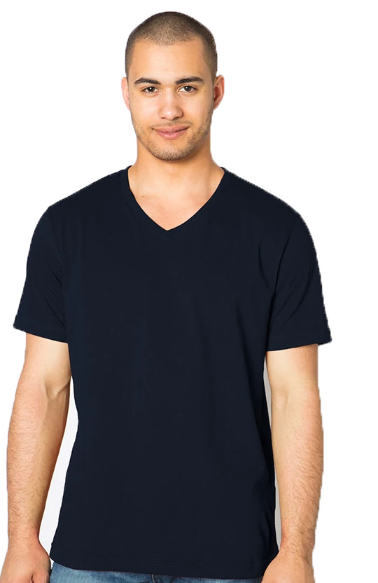 V-Neck T-Shirt Men's 100% Cotton Navy