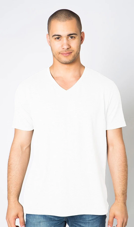 V-Neck T-Shirt Men's 100% Cotton White