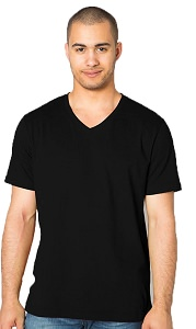V-Neck T-Shirt Men's 100% Cotton Black