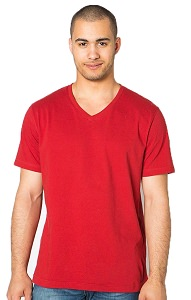 V-Neck T-Shirt Men's 100% Cotton Ruby Red