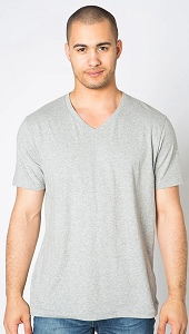 V-Neck T-Shirt Men's 100% Cotton Grey Mix