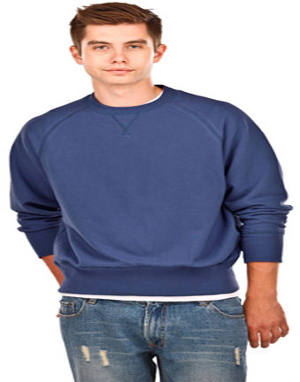 Men's V Notch French Terry Crew Neck 100% Cotton